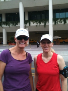 Out for a run with Laura Griffin in Anaheim.