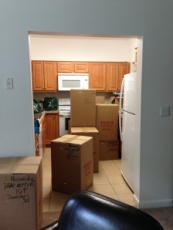 Moving boxes in kitchen